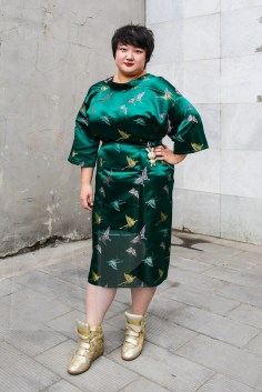 Richie is wearing a jade green altered kimono, with a glitzy rabbit medaillon, both from a local Beijing store and sneakers by Isabel Marant (property of AJ)