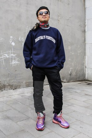 "Rex is wearing ""Martha's Vineyard"" sweatshirt (property of CK's ex boyfriend), sunglasses by Ralph Vaessen and a 100% silk feel polyester scarf, from a local Beijing clothing store. Trousers and sneakers: model's own."